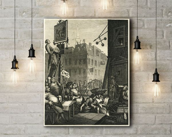 William Hogarth: Beer Street. Fine Art Canvas.